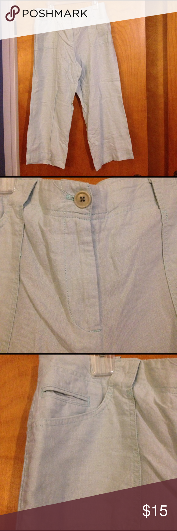 Size 14 Talbots Signature Linen Bottoms! DESCRIPTION 100% linen Talbots bottoms. Great for the summer. Machine wash, tumble dry. Tag states signature, size 14. Two buttons and a zipper for closure. Zipper works properly. Three front pockets and two back pockets. Inseam is approx 24 inches. Outseam is approx 35 inches. I'm not sure how to describe the style, they may be considered Capri/cropped wide leg. Tag only states signature for the style. This tag is half on- needs a stitch, remove it…