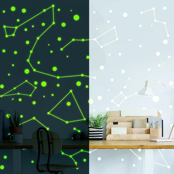 Constellations Vinyl Wall Stickers Glow In The Dark Zodiac Stars Space Ceiling Art Decals Glowi Luminous Decor Nursery Wall Stickers