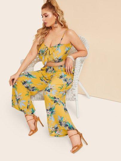 c209a9af0db Plus Tie Front Floral Print Cami Top   Pants in 2019