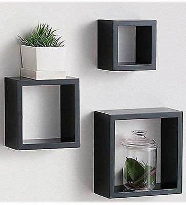 Modern Home 3 Pieces Black Square Cube Wall Shelf Set New Free Shipping Floating Cube Shelves Floating Shelves Cube Wall Shelf