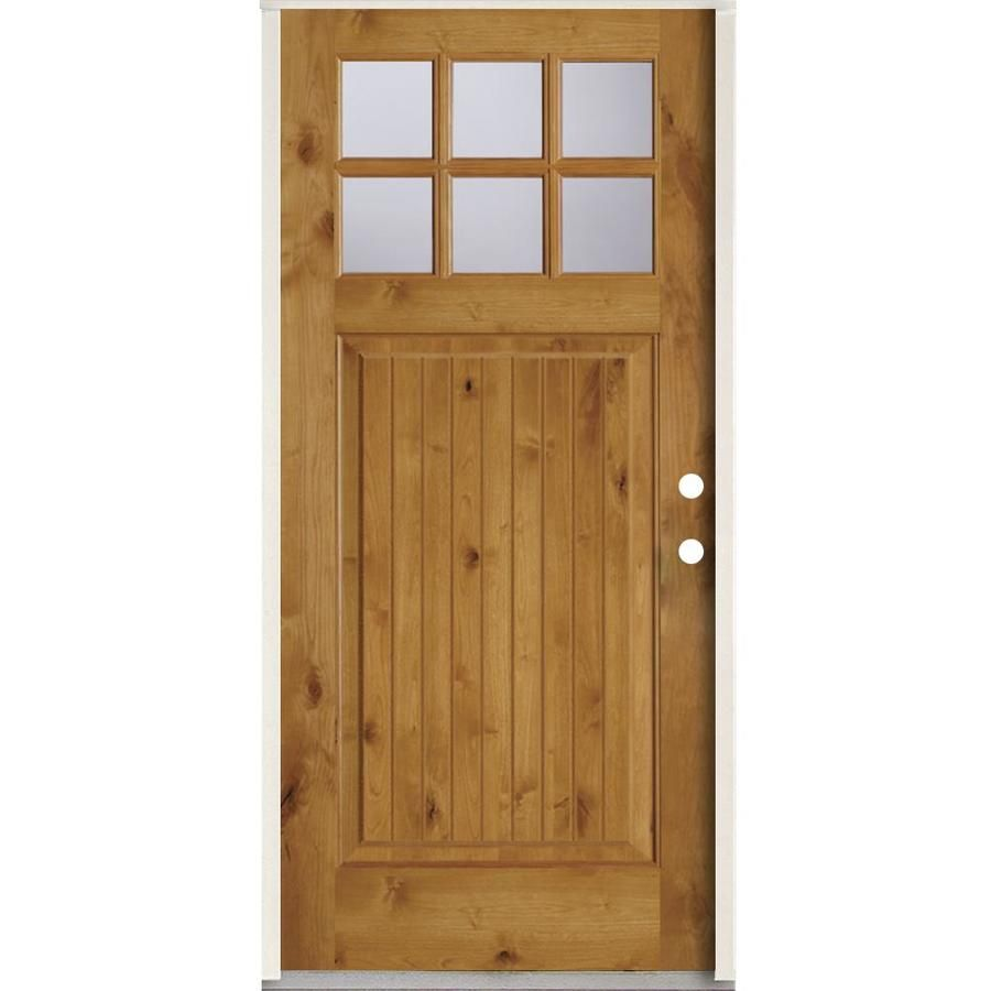 Simpson 36 In X 80 In 1 4 Lite Clear Glass Left Hand Inswing Brown Wood Prehung Entry Door Solid Core Lowes Com Entry Doors Single Doors Brown Wood