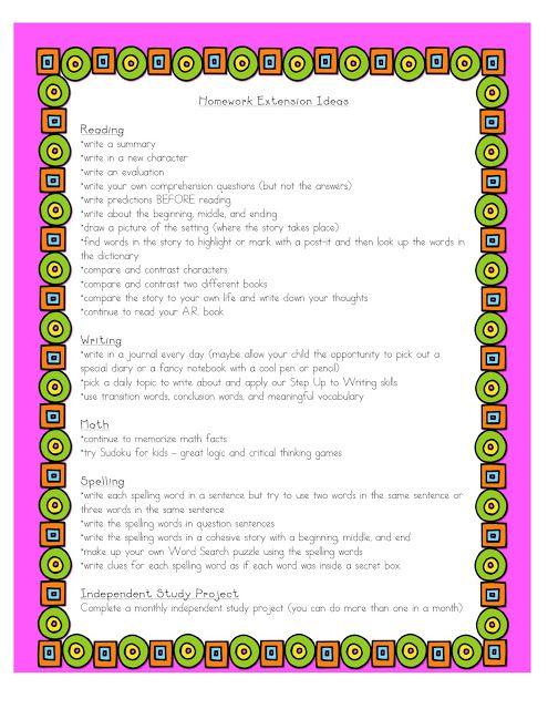 Homework extension ideas | Education | Homework, Homework