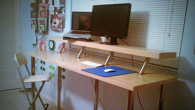 Build A Diy Wide Adjustable Height Ikea Standing Desk On The Cheap Ikea Standing Desk Standing Desk Diy Standing Desk