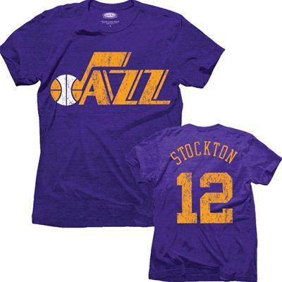 hot sale online 6f3e7 ca2e8 Utah Jazz NBA John Stockton #12 Name & Number Triblend T ...