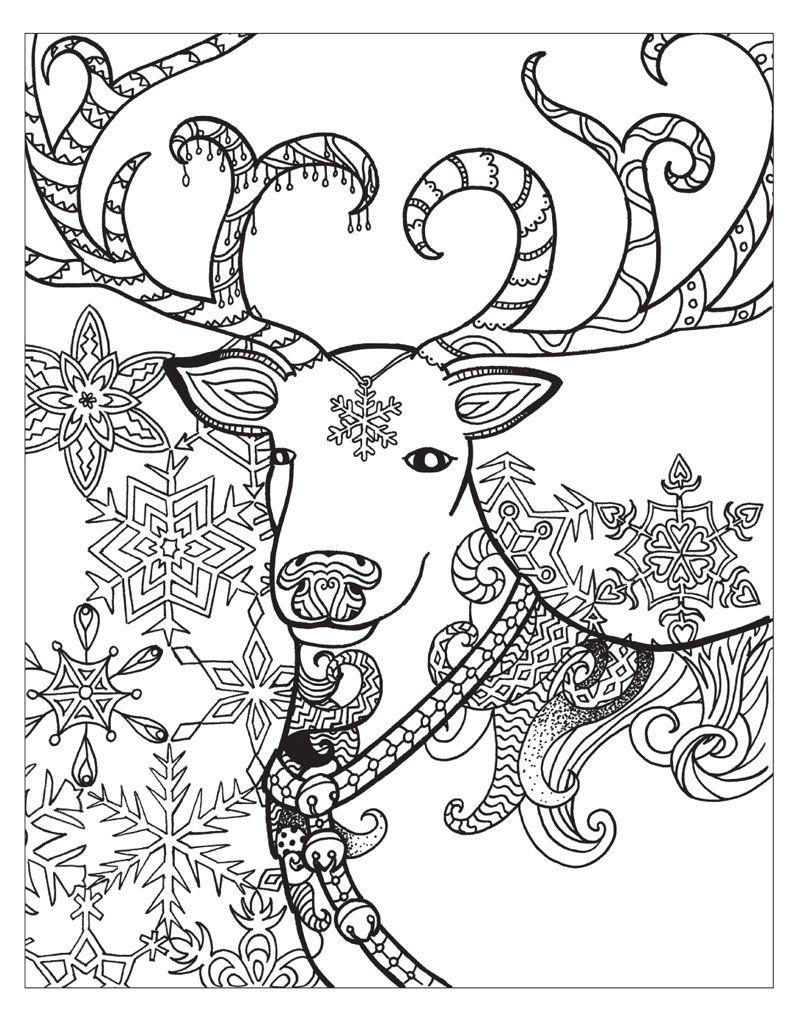 Zendoodle Coloring Winter Wonderland Раскраски, Олень и