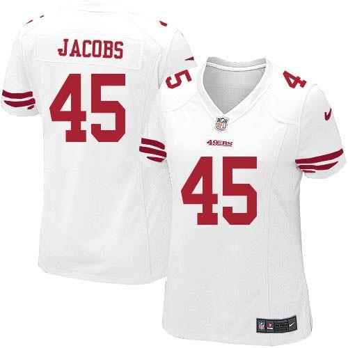 women nike san francisco 49ers 45 brandon jacobs game white nfl jersey sale