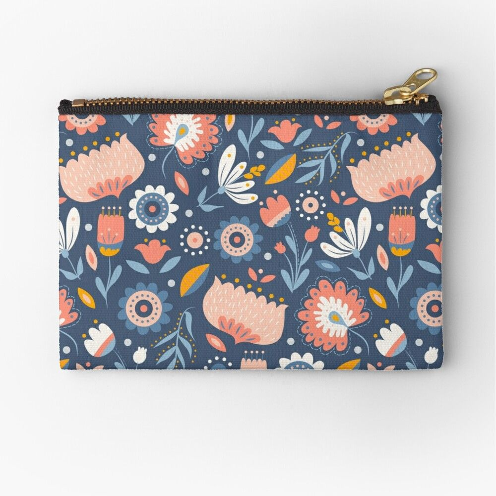 Zipper Pencil Pouch Blue and Orange Floral