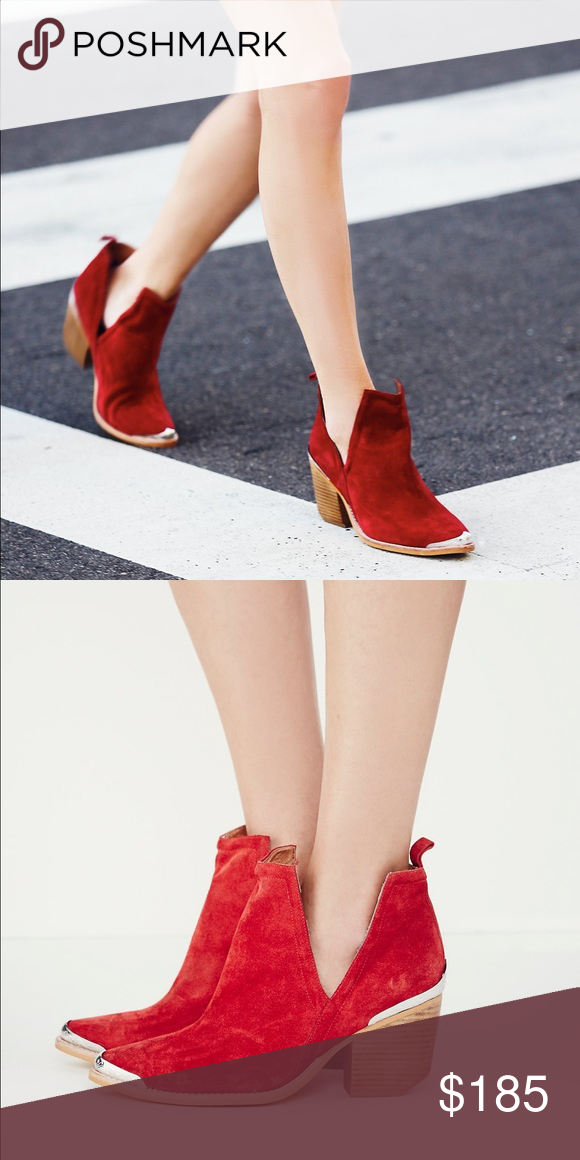 Jeffrey Campbell x Free People boots Labeled 7 but fits a 7-7.5. Exclusive to free people edition. Currently retailing online for $198 before tax. Suede ankle boots with a western-inspired design, etched metal heel and toe caps, and sculptural V-cut sides. Free People Shoes Ankle Boots & Booties