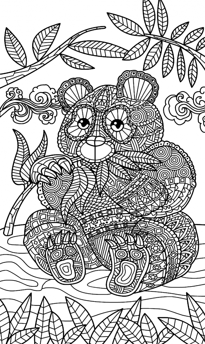 Zentangle Panda Bear coloring page | ✐Zentangles ~ Adult Colouring ...