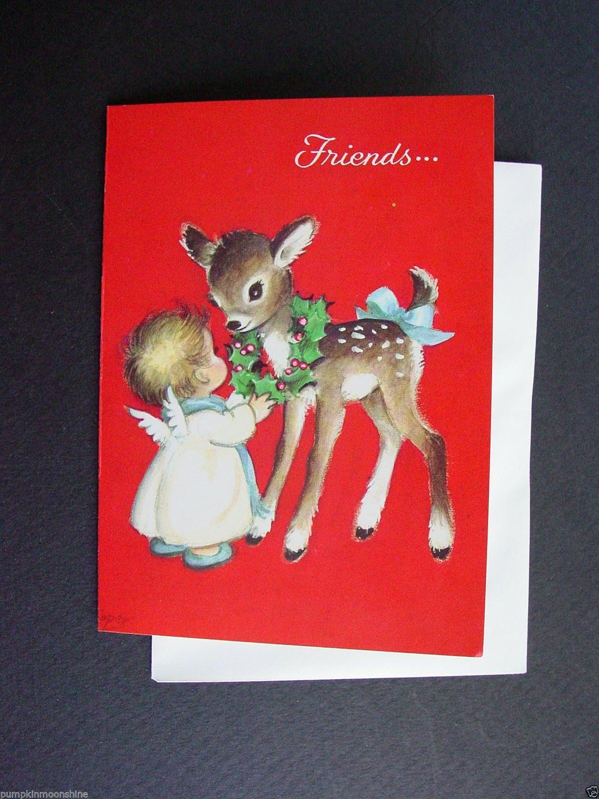 #E905- Vintage Unused Marjorie M. Cooper Xmas Greeting Card Angel & Sweet Deer | eBay