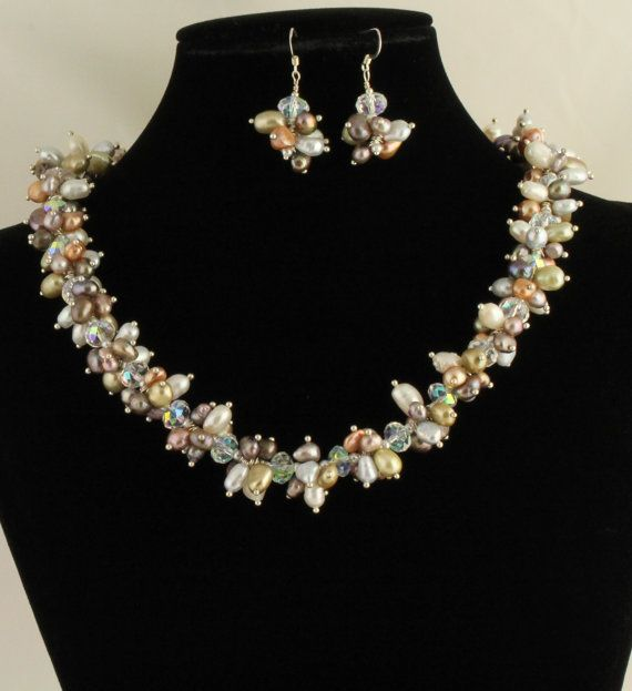 Freshwater Pearl Necklace Set Listing by Ptcreationsjewelry, $55.00