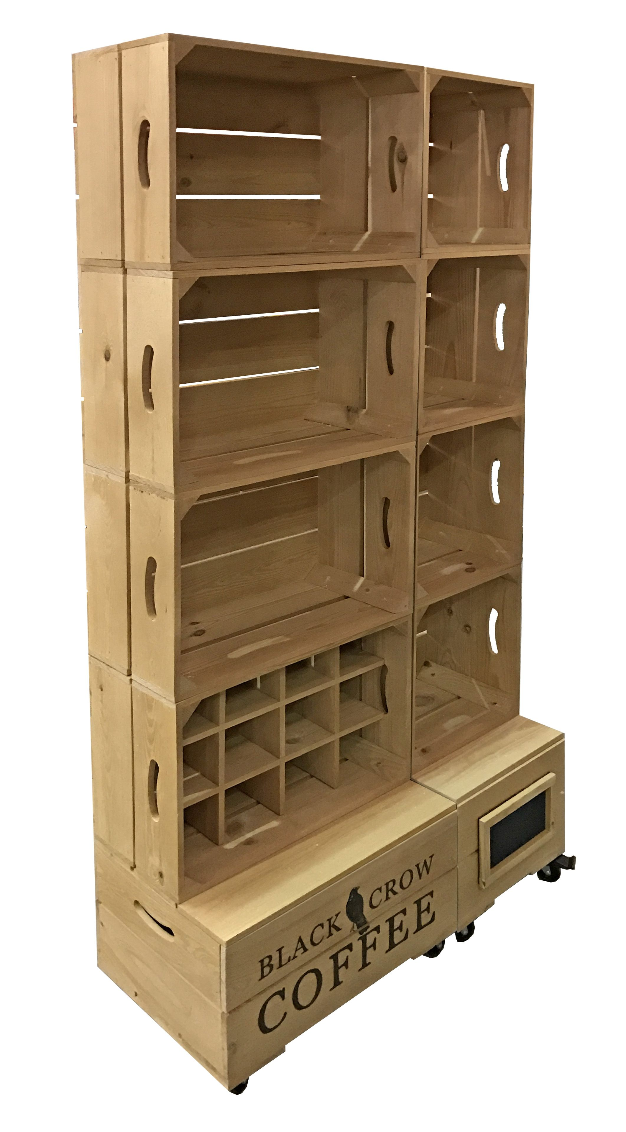 Branded Wooden Crates For Retail Display And Point Of Sale Apple Crate Shelves Retail Display Display Furniture