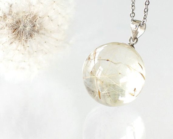 Dandelion Necklace Resin Orb Globe Necklace Make A By Uralnature 35 00 Dandelion Necklace Crystal Resin Unique Handmade Jewelry