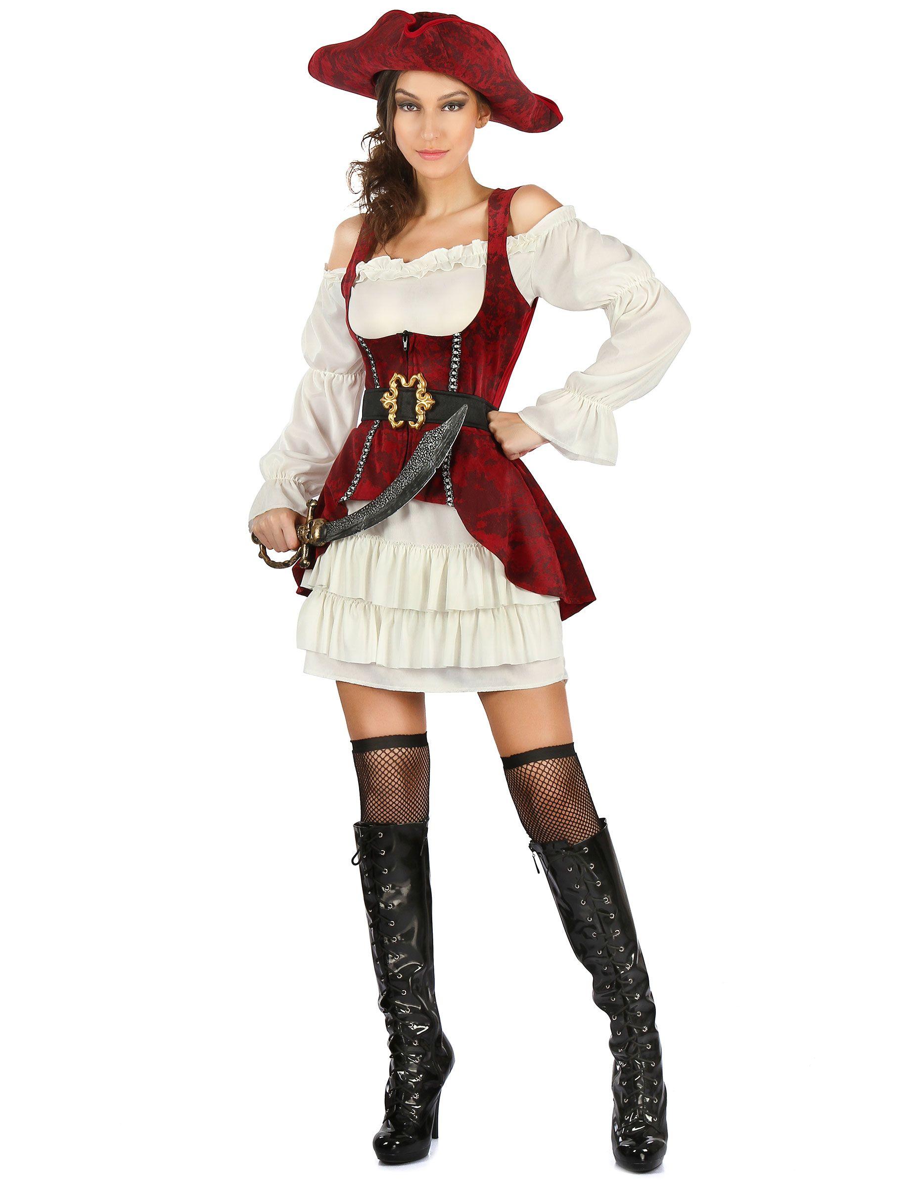Rojo 2019Halloween Pirata Adultos Mujer Disfraz Blanco En Y 9WEDHI2