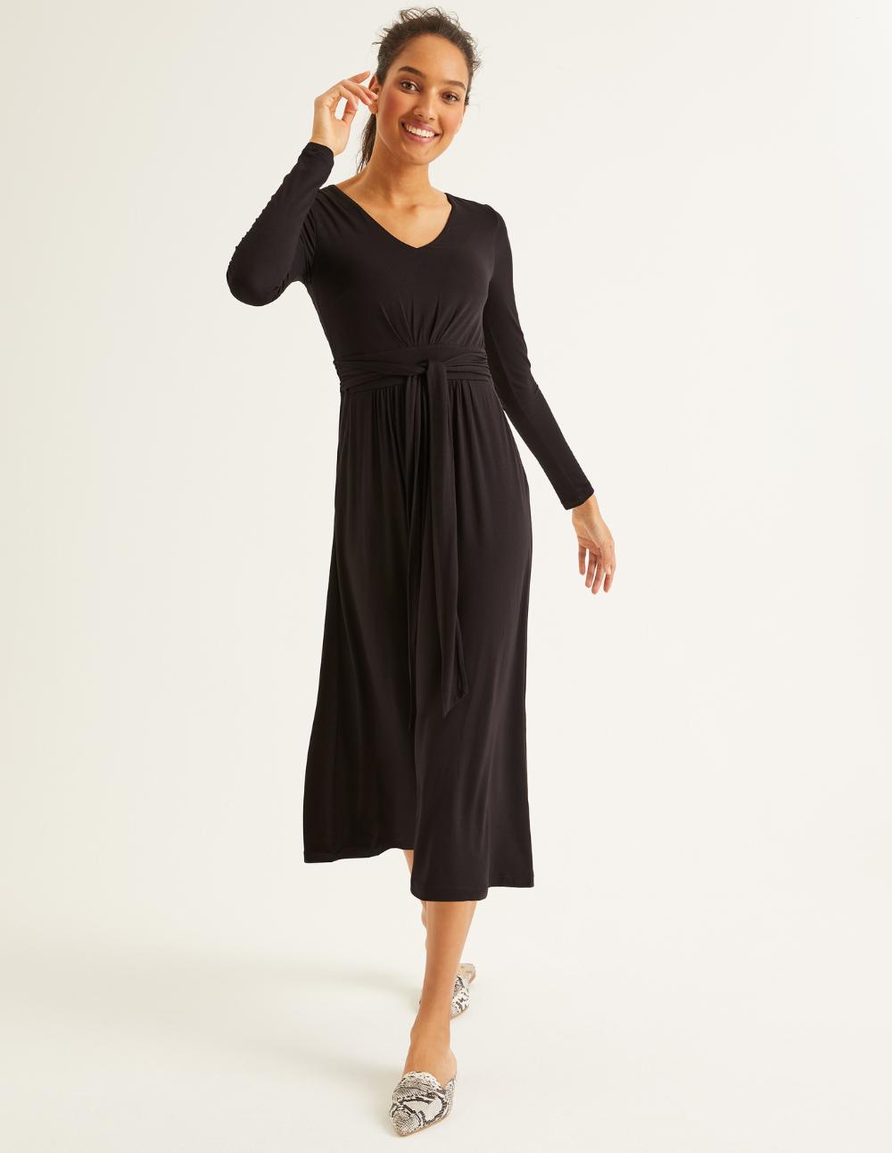 Ferne Jersey Midi Dress Black Midi Dress Work Midi Dress Black Midi Dress [ 1292 x 1000 Pixel ]