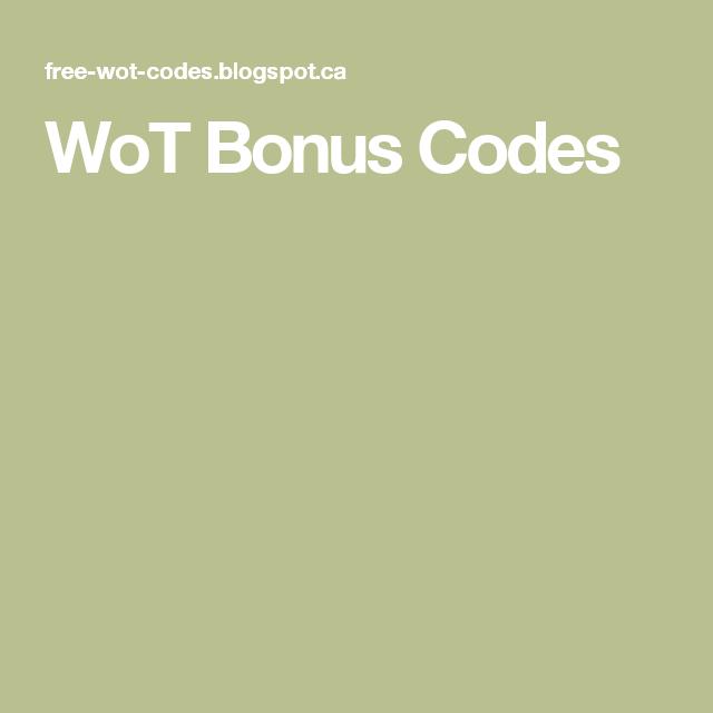 WoT Bonus Codes | Wot | Coding