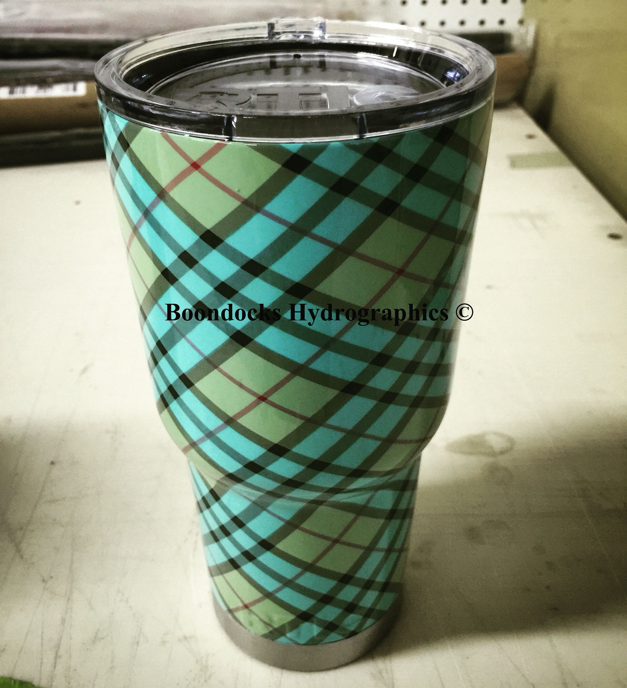 Rtic tumbler in plaid