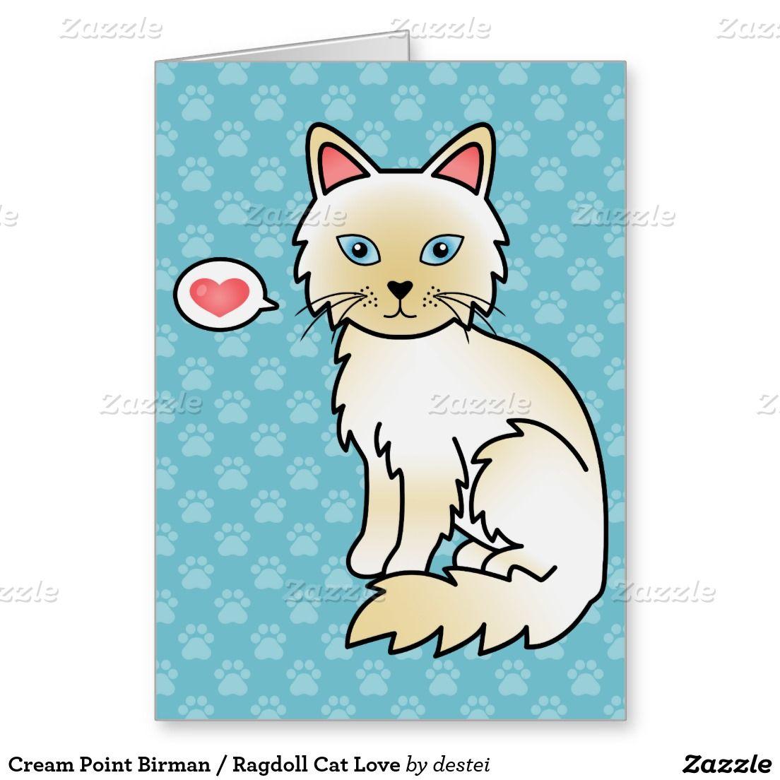 Cream Point Birman Ragdoll Cat Love Greeting Card Ragdolls