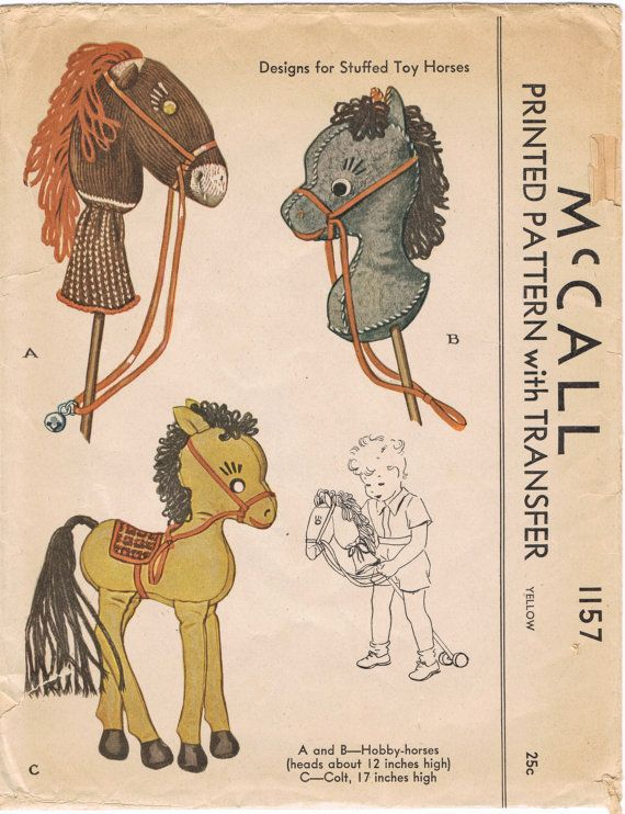 McCall 1157 - Vintage 1940s Sewing Pattern - Designs For Stuffed Toy ...
