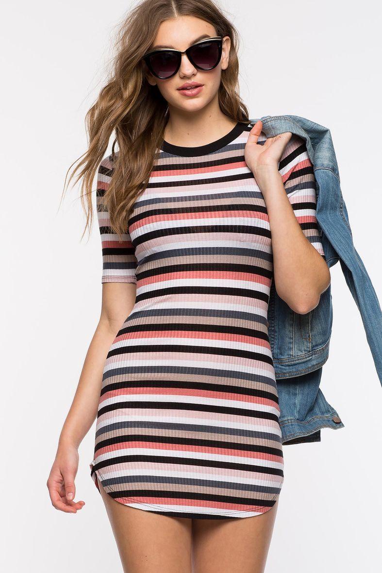 0957f353bc5 A GACI l Pinky Stripe Tee Dress l  Agaci