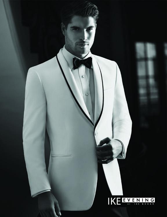 Cool Prom Dress IKE Evening white Tuxedo Evening Jacket with black ...