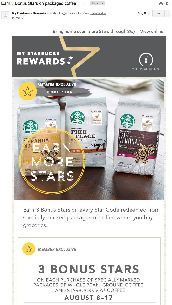 starbucks-stars | Email Template | Pinterest