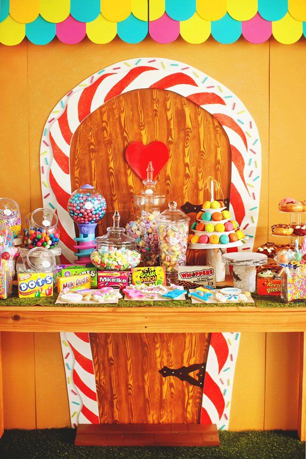 Hansel U0026 Gretel Candy Themed Twinu0027s Birthday Party With A Gingerbread House  Cake U0026 Dessert Table Backdrop, DIY Candy Themed Decor, Life Sized Lollipops  U0026