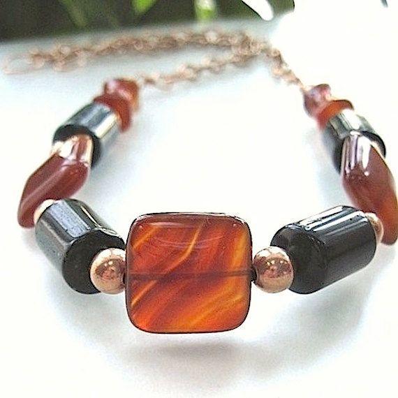 Earthy Gemstone Necklace Burnt Orange Carnelian Forest Green Ocean Jasper via Etsy