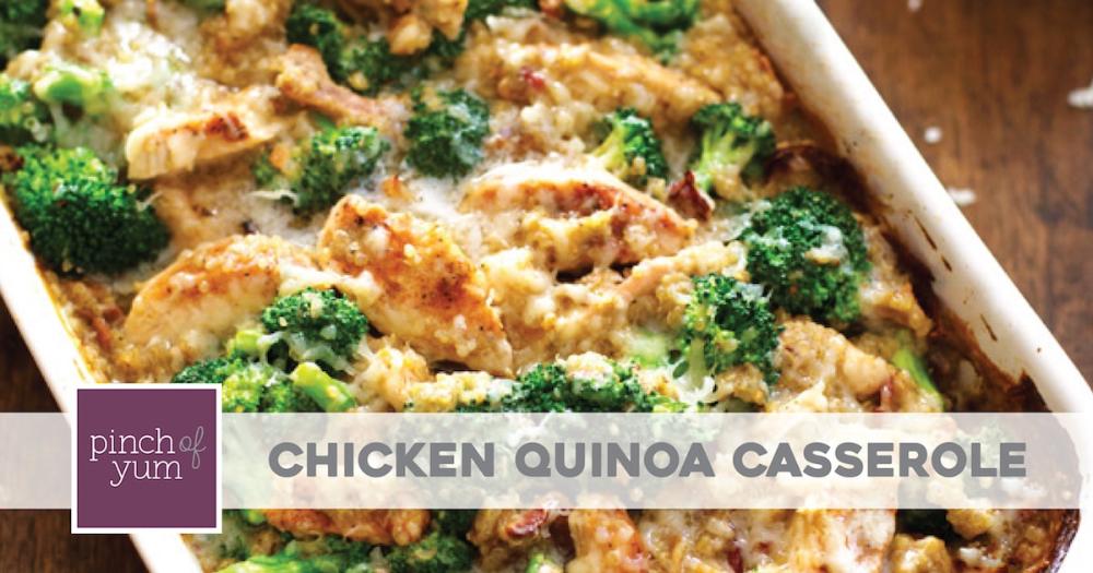 Creamy Chicken Quinoa and Broccoli Casserole #creamychickencasserole