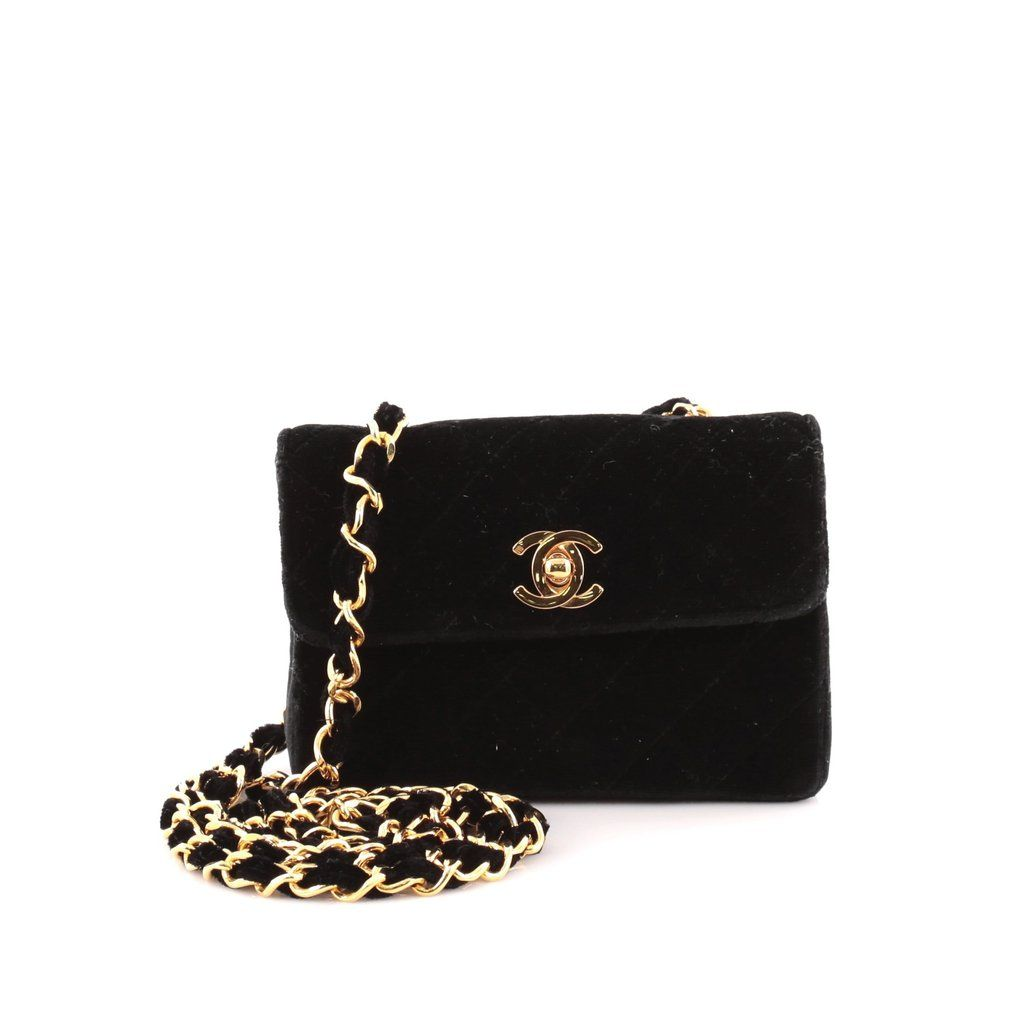 e7bffedfa1daf3 Online Sale - Authentic Black Chanel Vintage CC Chain Flap Bag Quilted  Velvet Extra Mini at Trendlee.com. Guaranteed genuine! Financing available.  1153501
