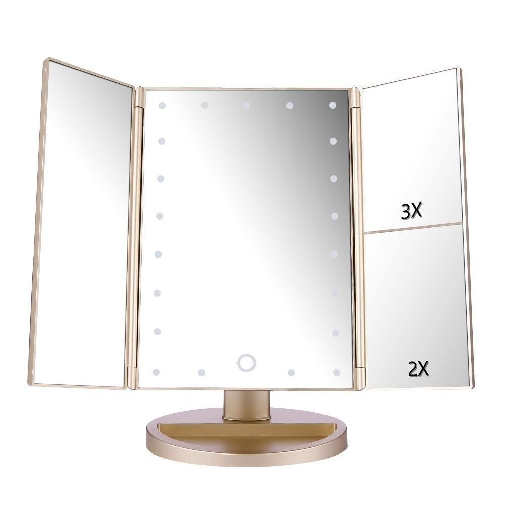 Gold Makeup Mirror With Led Lights Touch Screen Travel Cosmetic