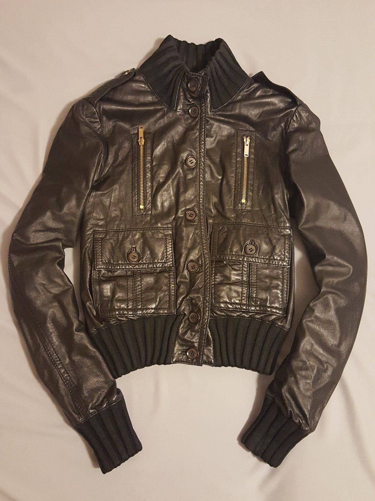 5eafb628c Details about Gucci Madonna authentic luxury leather jacket Italy NP ...