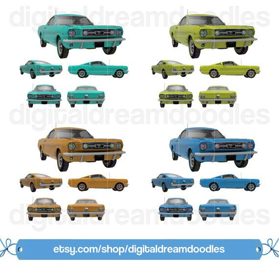 Car Clipart Classic Vehicle Mustang Clip Art Auto Digital Graphic Muscle
