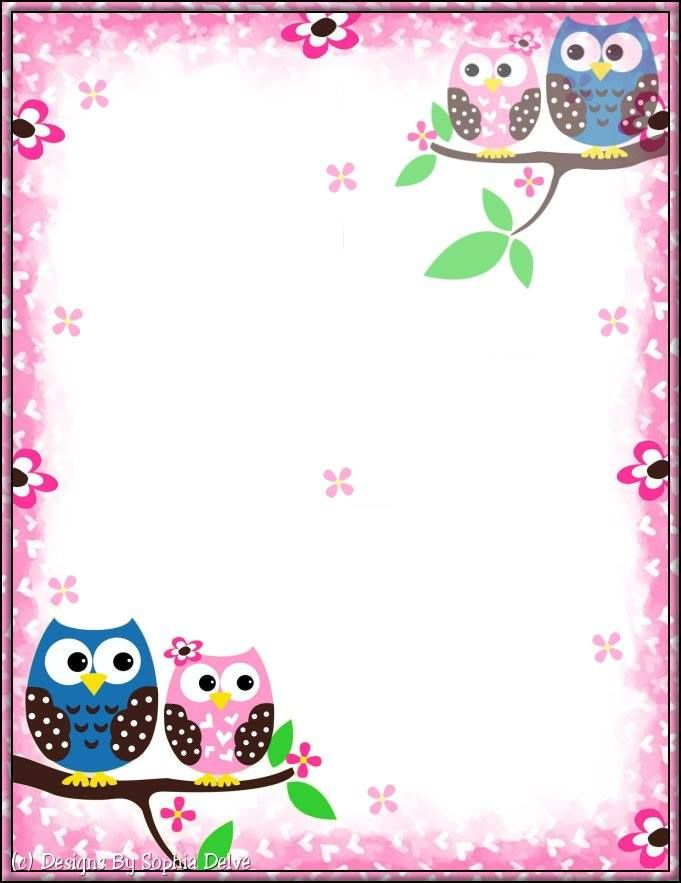 Printable Stationery Borders For Paper Owl Crafts Printable Stationery