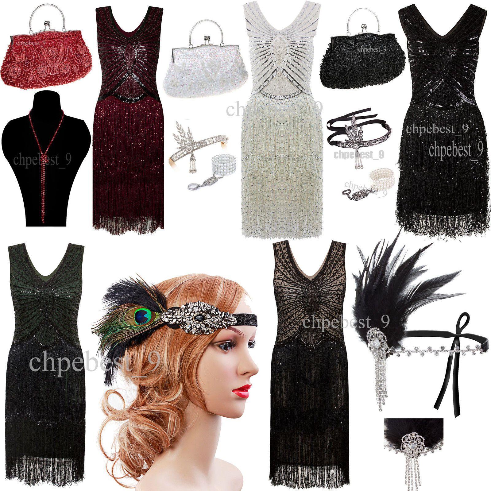 Gatsby vintage us flapper dress tassels beads party bridesmaids