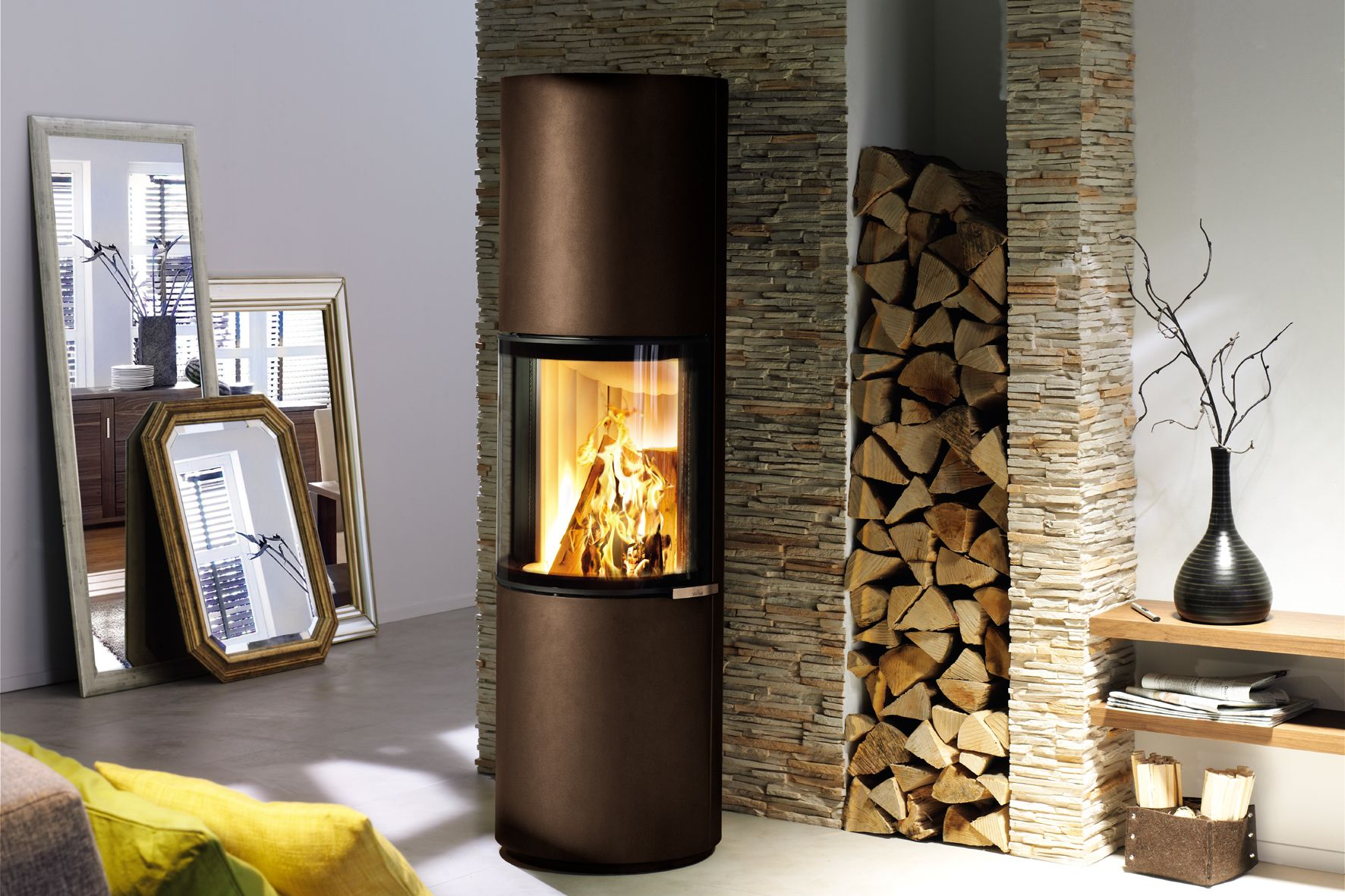 Passo M from Spartherm is an extra tall wood stove in the trendy