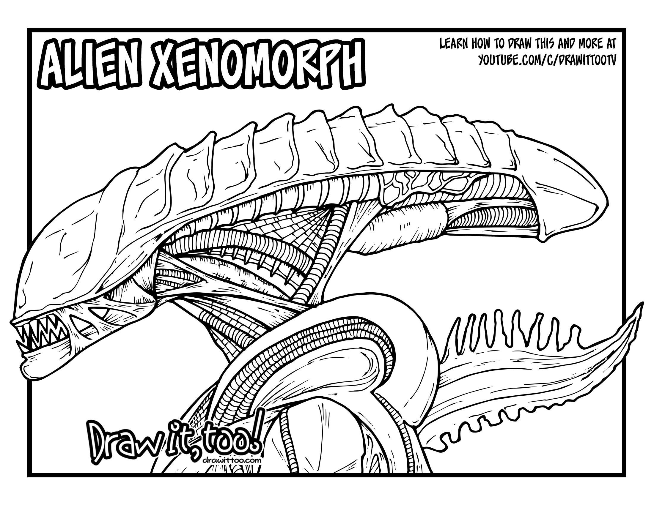 51 Xenomorph Coloring Page Alien Drawings Easy Drawings Coloring Pages