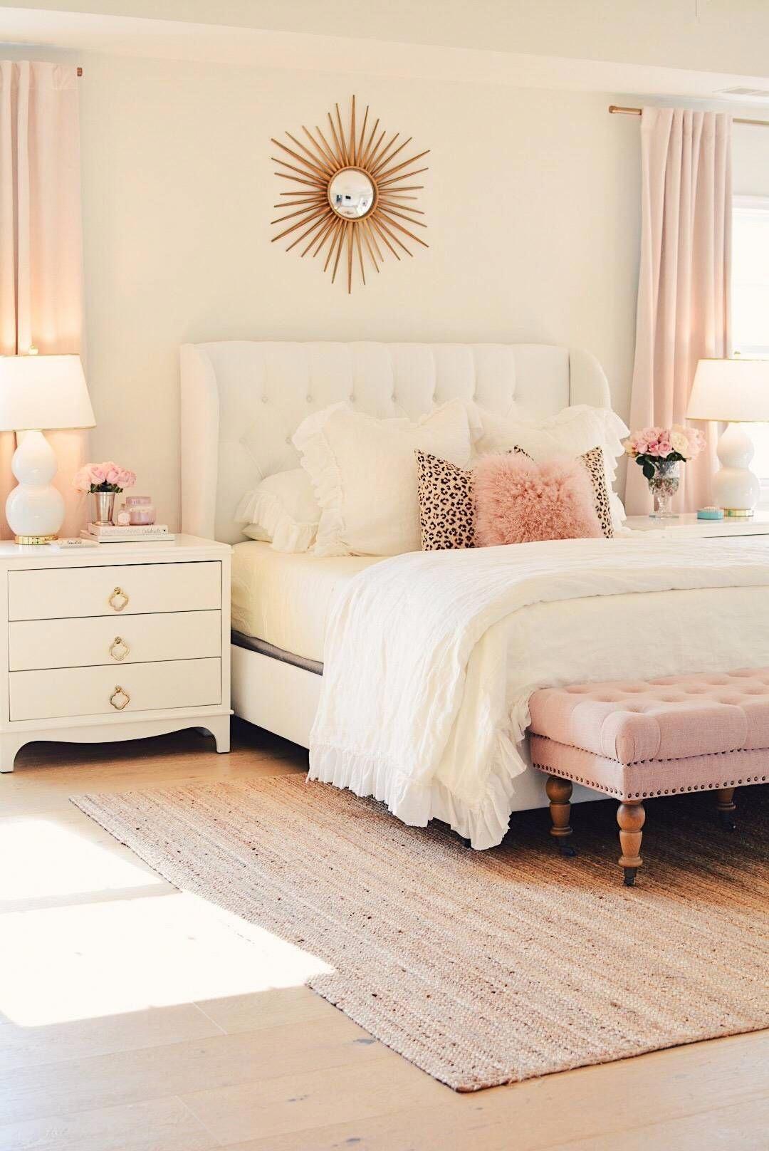 bedroom Makeover, white linen bedding, pink tufted bench ...