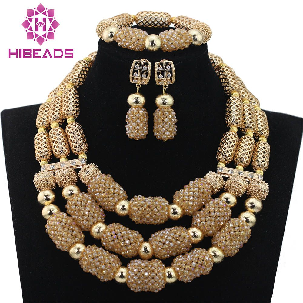 >> Click to Buy << Luxury Champagne Gold Dubai Wedding Beads Crystal Jewelry Set  Bridal Inspiration Party Jewelry Accessory Free Shipping WD617 #Affiliate