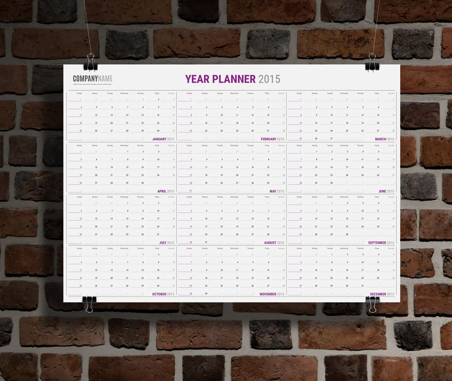 Yearly Wall Planner Calendar KP-W13 - Template Printable And