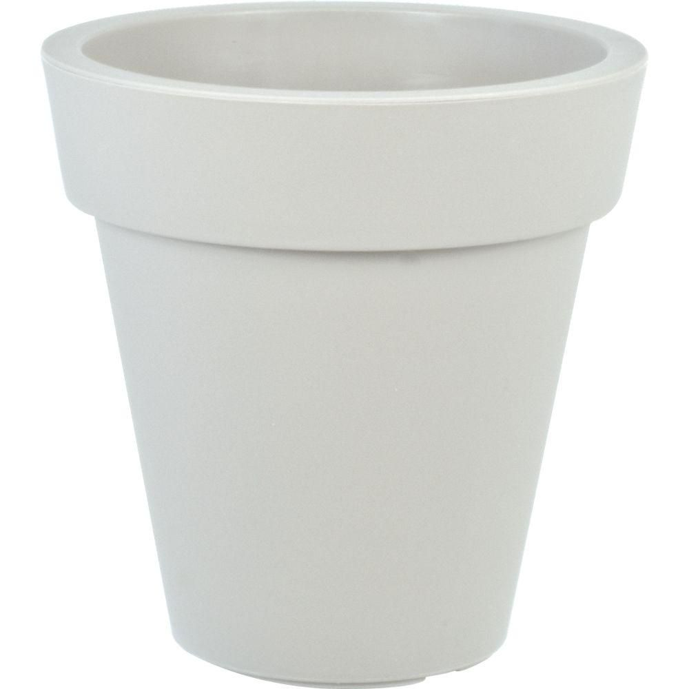 null Mela 15 in. Dia Round White Plastic Planter | Planters, Office ...