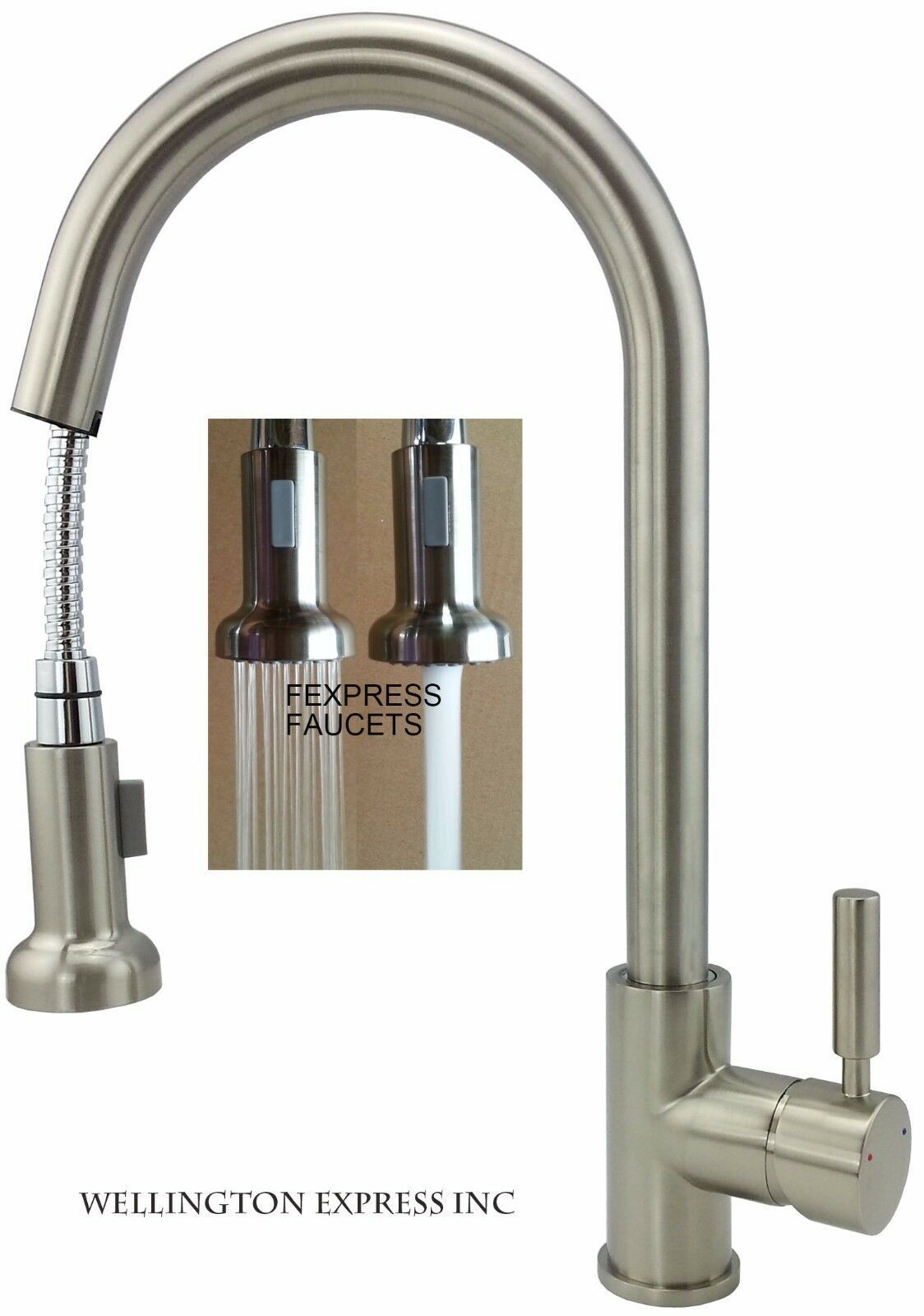 Kitchen Sink Faucet Pull Out Sprayer Single Handle Single Hole