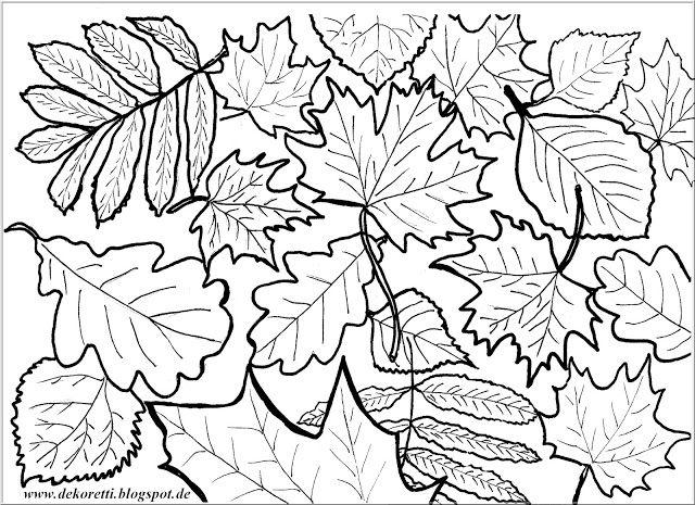 Herbstblätter zum Ausdrucken und selber Ausmalen | Doodle painting ...