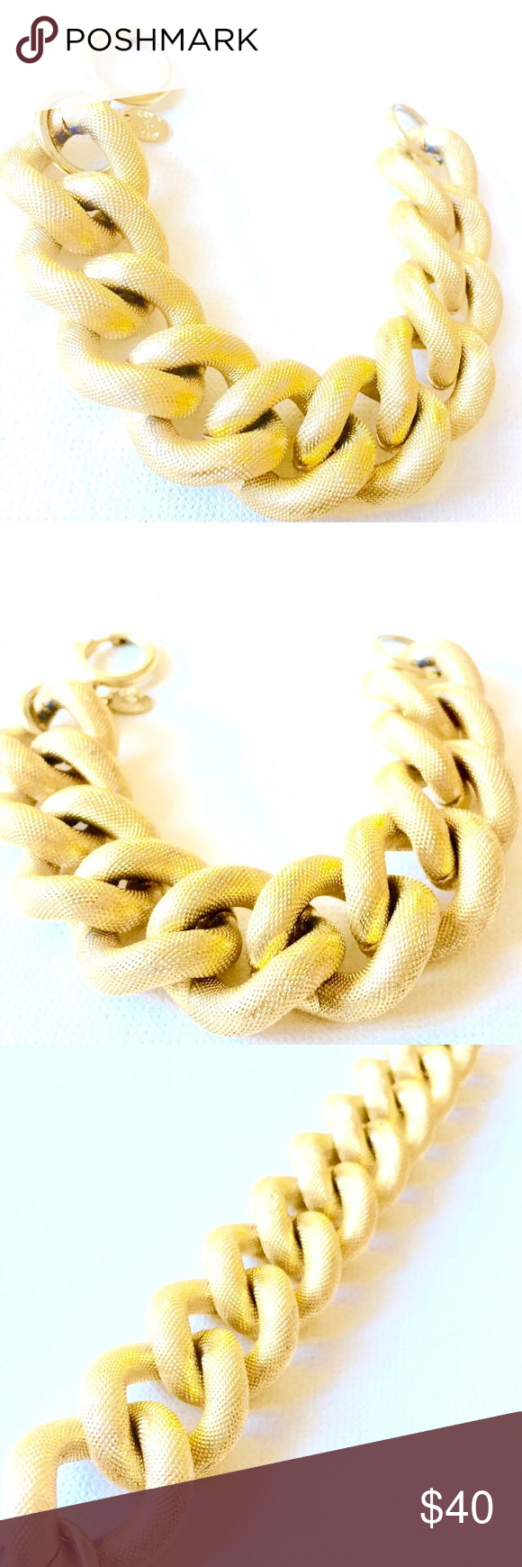Erwin pearl gold plated chunky link bracelet