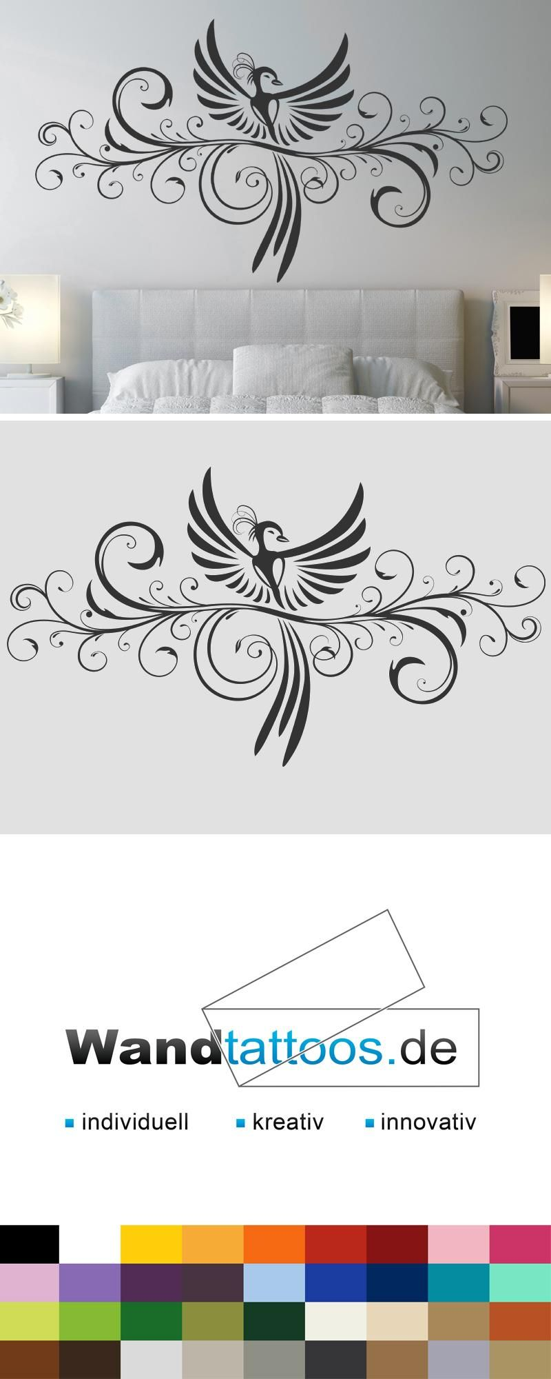 wandtattoo dekoratives ornament mit ph nix ornamente wandtattoos pinterest wandtattoo. Black Bedroom Furniture Sets. Home Design Ideas