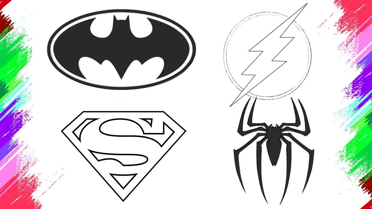 How To Draw Spiderman Flash Batman Superman Logo Easy Colouring Pages Https Www Youtube C Easy Coloring Pages Spiderman Drawing Coloring Pages For Kids
