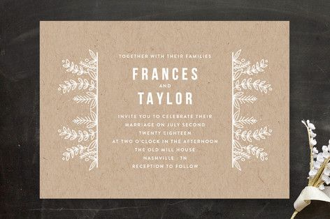 """""""Botanical"""" - Rustic Wedding Invitations in Cobalt by Bethan."""