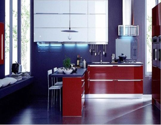 Indigo Walls Amp Countertops W Red Cabinetry Blue Kitchen Designs Italian Kitchen Design