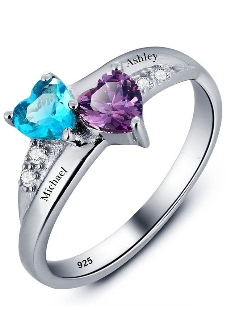 37ecef9cbc Promise Ring For Her Couples 2 Heart Birthstones 2 Names and 1 Engraving  Customized and Personalized