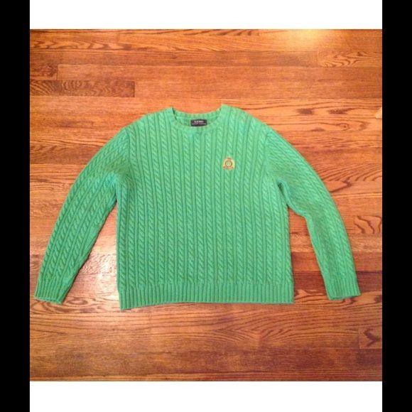 Ralph Lauren Green Cable Knit Crest Sweater Minimal signs of wear Ralph Lauren Sweaters